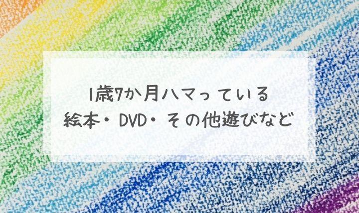 1歳7か月ハマっている 絵本・DVD・その他遊びなど