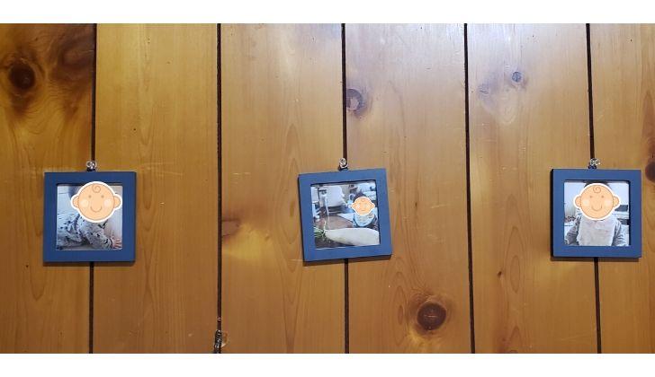 セリアで購入したフォトフレームを塗装してALBUSの写真を入れて飾ると◎